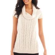 Worthington® Short-Sleeve Chunky Cowlneck Sweater - Tall