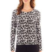 Liz Claiborne® Long-Sleeve Animal Print Sweater - Tall