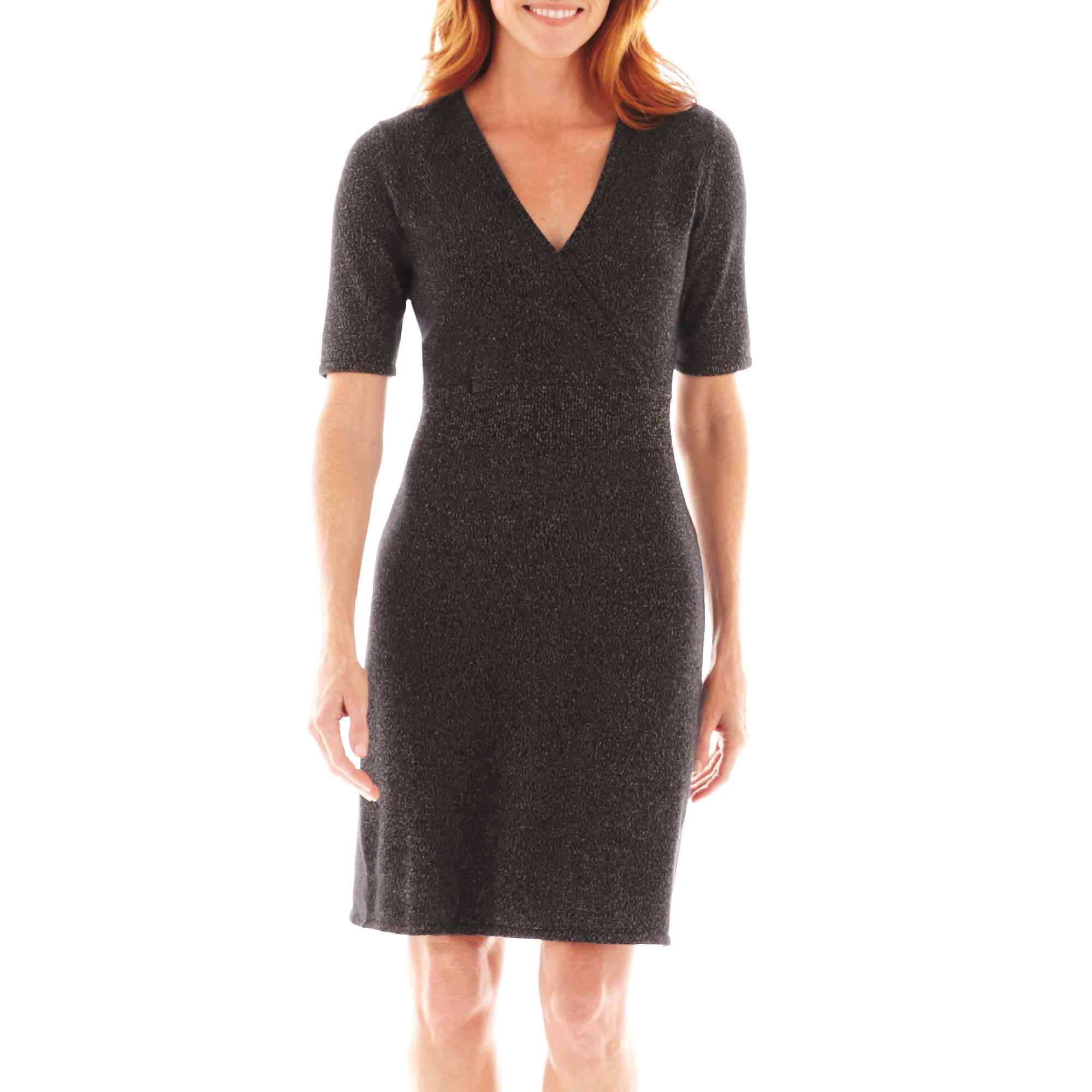Liz Claiborne Short-Sleeve Surplice Sweater Dress - Tall