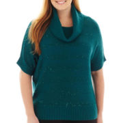 Alyx® Short-Sleeve Metallic-Striped Cowlneck Sweater - Plus
