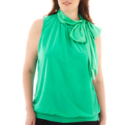 Worthington® Sleeveless Tie-Neck Banded Blouse - Plus