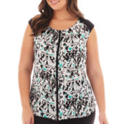 Worthington® Short-Sleeve Pleat-Neck Blouse - Plus