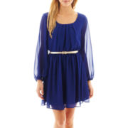 by&by Long-Sleeve Belted Chiffon Dress