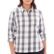 jcp™ Long-Sleeve Brushed Twill Plaid Shirt - Plus