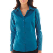 Worthington® Essential Long-Sleeve Button-Front Shirt - Petite