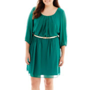 by&by Elbow-Sleeve Chiffon Belted Dress - Plus