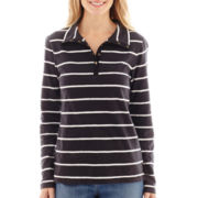St. John's Bay® Long-Sleeve Striped Tee