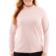 St. John's Bay® Long-Sleeve Mockneck Top - Plus