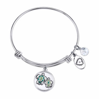 jcpenney.com | Footnotes Womens Green Crystal Silver Over Brass Bangle Bracelet