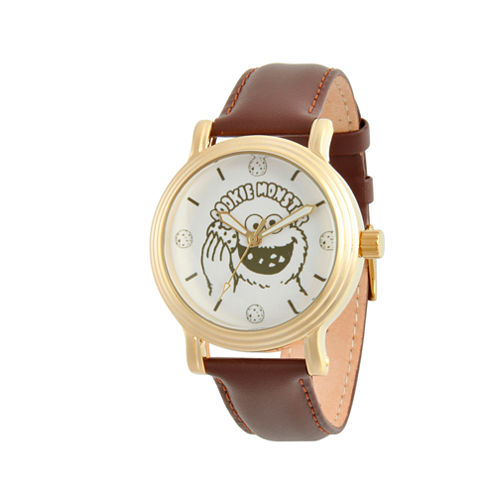 Sesame Street Womens Brown Strap Watch-Wss000017