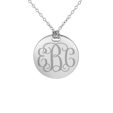 jcpenney.com | Personalized Sterling Silver 19mm Round Monogram Pendant Necklace