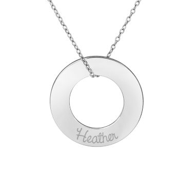 jcpenney.com | Personalized Sterling Silver 26mm Circle Family Name Pendant Necklace