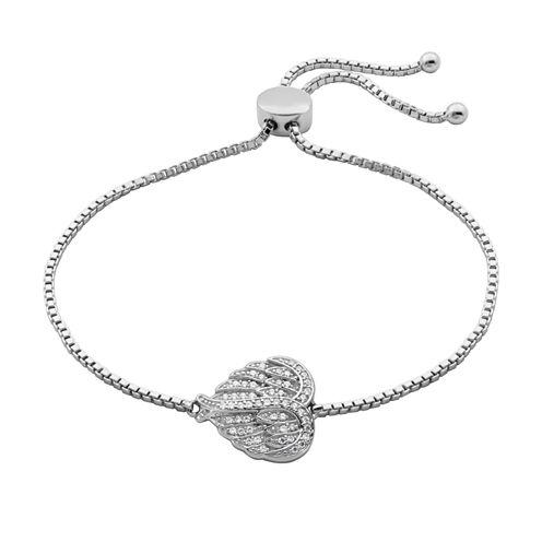 Diamonart Sterling Silver 1/4 CT. T.W. Cubic Zirconia Angel Wing  Bolo Bracelet