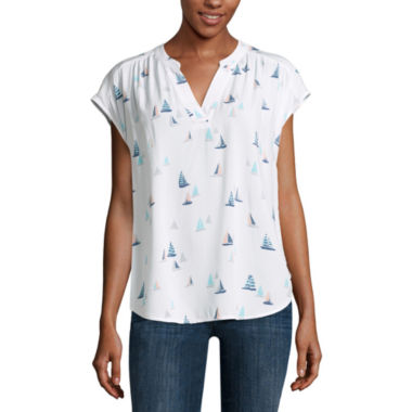 jcpenney.com | Liz Claiborne Short Sleeve Split Crew Neck Blouse