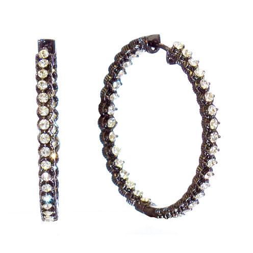 """telio! by Doris Panos """"Sophia"""" Black-Tone Crystal Inside Out Hoop Earrings"""