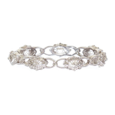 "jcpenney.com | telio! by Doris Panos ""Daphne"" Silver-Tone Crystal Bangle"