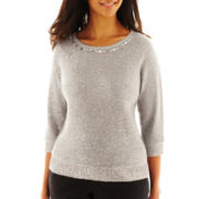 Alfred Dunner® Dover Cliffs Textured Sequin Sweater with Tank Top - Petite