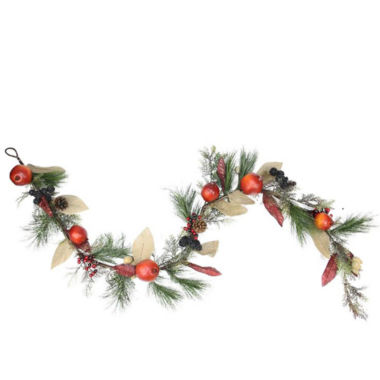 jcpenney.com | 6 Ft. Unlit Autumn Harvest Mixed Pine, Berry and Nut Thanksgiving Fall Garland