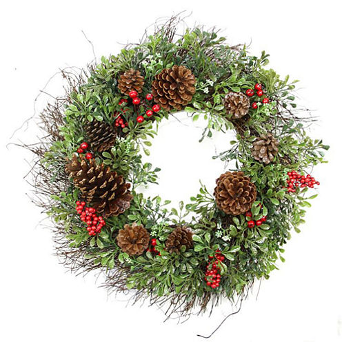"""24"""" Unlit Glittered Artificial Boxwood, Pine Cone and Red Berry Christmas Wreath"""