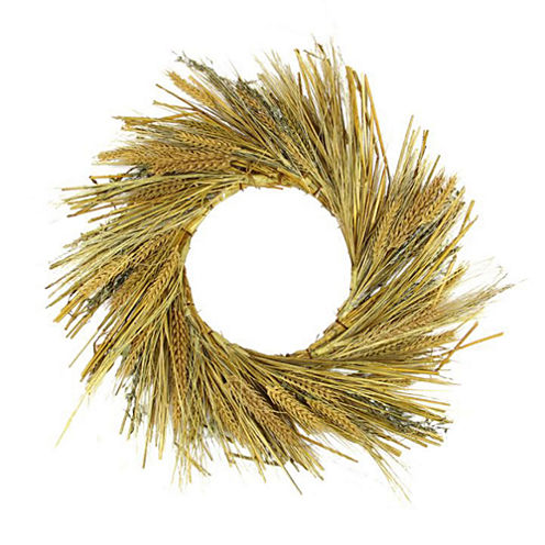 "22"" Unlit Autumn Harvest Wheat, Grass and Grapevine Thanksgiving Fall Wreath"