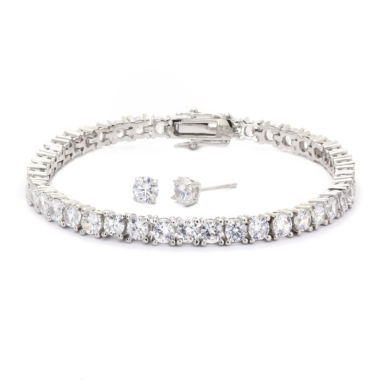 jcpenney.com | Sparkle Allure Cubic Zirconia Round Stone Silver Tennis Bracelet With Earrings