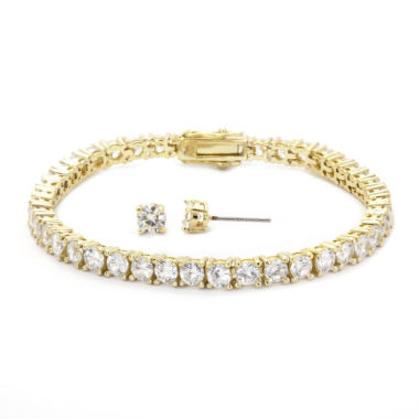 jcpenney.com | Sparkle Allure Cubic Zirconia Round Stone Gold Tennis Bracelet With Earrings