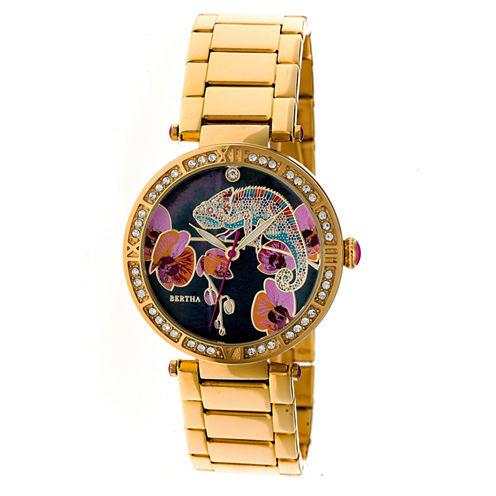 Bertha Womens Gold Tone Strap Watch-Bthbr6202