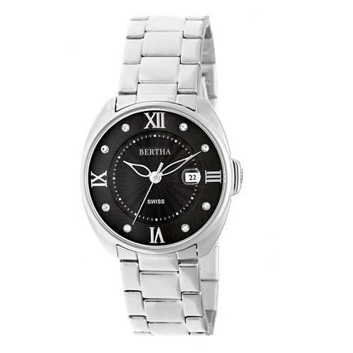 Bertha Womens Silver Tone Strap Watch-Bthbr6301