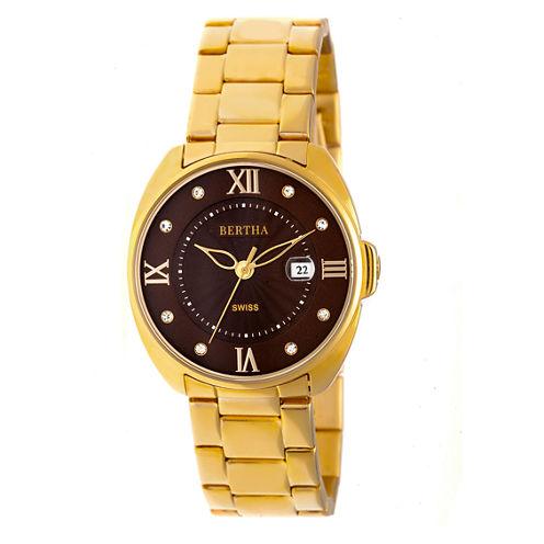 Bertha Womens Gold Tone Strap Watch-Bthbr6302
