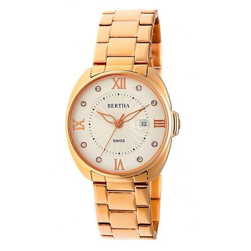 Bertha Womens Rose Goldtone Strap Watch-Bthbr6303