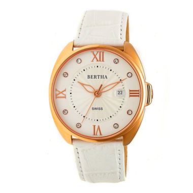 jcpenney.com | Bertha Womens White Strap Watch-Bthbr6307