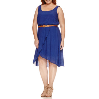 jcpenney.com | Luxology Sleeveless Belted Fit & Flare Dress-Plus