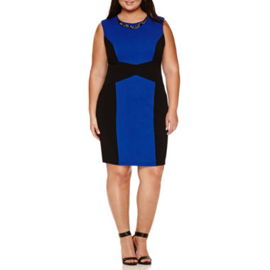 jcpenney.com | Bisou Bisou Sleeveless Sheath Colorblock Dress-Plus