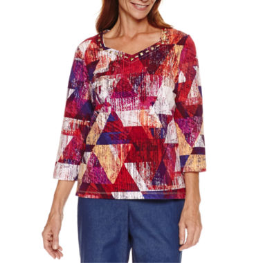 jcpenney.com | Alfred Dunner 3/4 Sleeve Sweetheart Neck Print Top