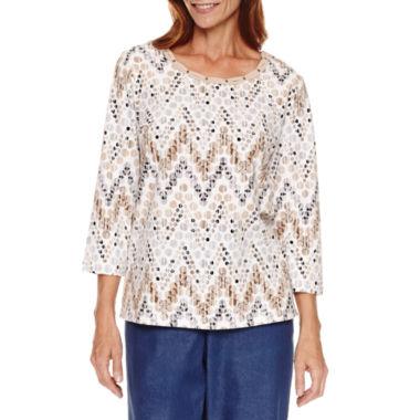 jcpenney.com | Alfred Dunner 3/4 Sleeve Zig Zag Print Top