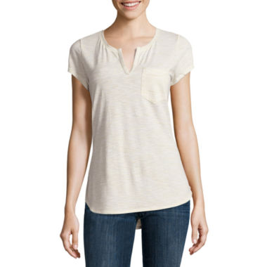 jcpenney.com | Liz Claiborne Short Sleeve Split Crew Neck T-Shirt