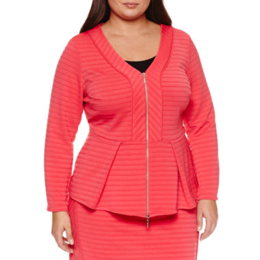 jcpenney.com | Bisou Bisou Long Sleeve  Ribbed Peplum Blazer-Plus