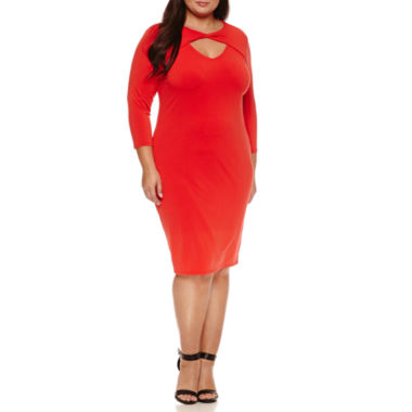 jcpenney.com | Belle + Sky 3/4 Sleeve Bodycon Dress