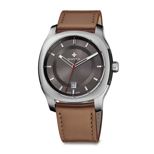 Swiza® Nowus Mens Brown Leather Strap Watch