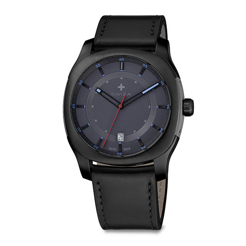 Swiza® Nowus Mens Black Leather Strap Watch
