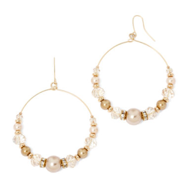 jcpenney.com | Vieste® Simulated Pearl and Bead Hoop Earrings