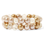 Vieste® Glass Pearl and Crystal Stretch Bracelet