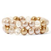 Vieste® Glass Pearl and Crystal Stretch Bracelet