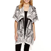 by&by Long-Sleeve Open-Front Aztec Print Capelet