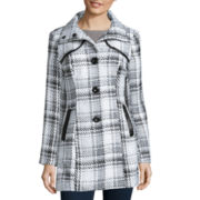 by&by Faux-Leather-Trim Textured Plaid Jacket
