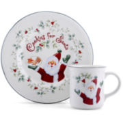 Pfaltzgraff® Winterberry 2-pc. Cookies and Milk for Santa Set