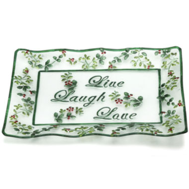 jcpenney.com | Pfaltzgraff® Winterberry Glass Live Laugh Love Rectangular Serving Platter