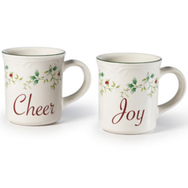 jcpenney.com | Pfaltzgraff® Winterberry Set of 2 Joy and Cheer Mugs