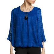Alyx® Grid Bell-Sleeve Necklace Top