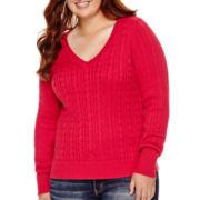Arizona Long-Sleeve V-Neck Baby Cable Sweater - Juniors Plus